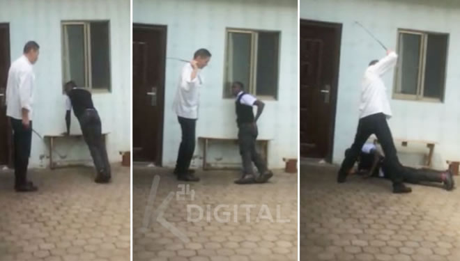 K24 Digital has obtained a disturbing video clip showing a Chinese restaurant officer whipping a Kenyan waiter for arriving late to work. [PHOTO | K24 DIGITAL]