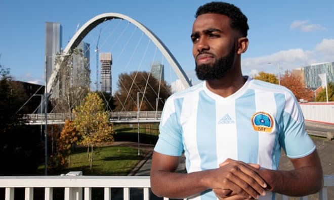 Curzon Ashton's Mohamud Ali, pictured in Manchester, says: 'At the final whistle that's when we started to realise how big an achievement it was.' Photograph: Jon Super/The Guardian