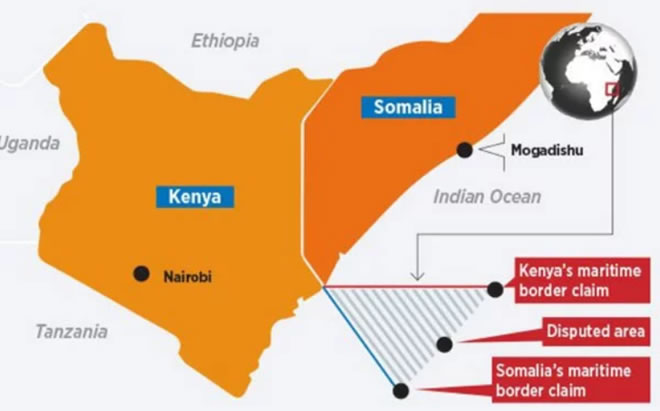 The area in the Kenya-Somalia maritime border dispute forms a triangle east of the Kenya coast. GRAPHIC | NATION MEDIA GROUP