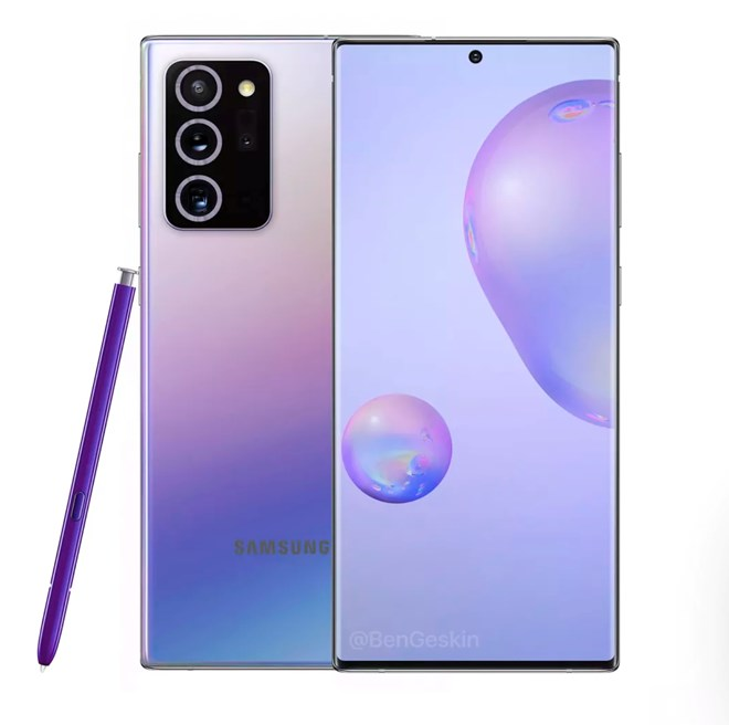 This unofficial render imagines what the Note 20 could look like with a purple stylus and blue-to-purple gradient finish on the back. @BenGeskin