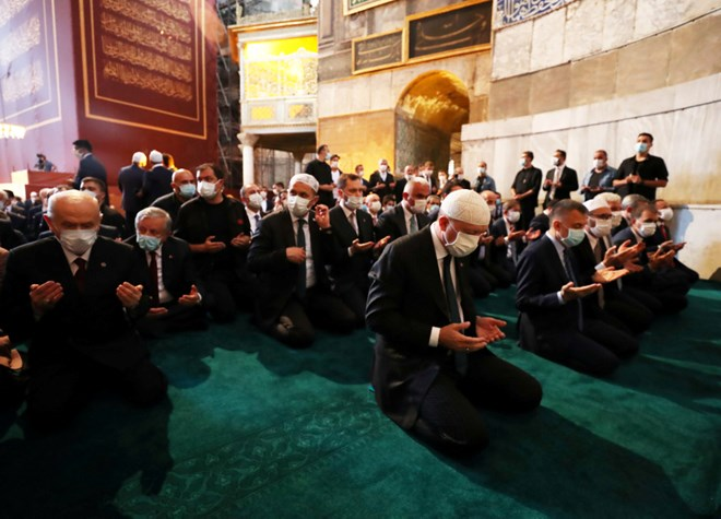 Turkey's President Tayyip Erdogan attends Friday prayers at Hagia Sophia Grand Mosque, for the first time after it was once again declared a mosque after 86 years, in Istanbul, Turkey, July 24, 2020. — Murat Cetinmuhurdar/PPO handout pic via Reuters