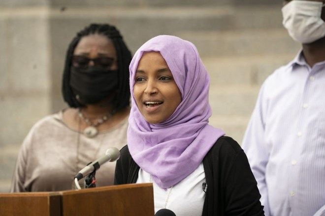 U.S. Rep. Ilhan Omar, seen at a July 7 news conference at the state Capitol, is facing a well-financed challenger in the DFL primary race.RENEE JONES SCHNEIDER – STAR TRIBUNE