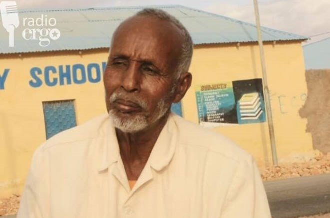 Never too late to learn for Abdirahman Mahamud Mohamed, pictured outside his school in Qarqora, Mudug/Ergo