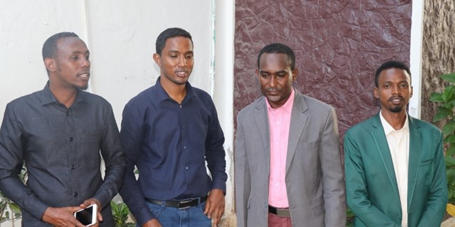 From left) SOMA secretary general, Mohamed Abduwahab; Goobjoog director, Hassan Mohamud; SJS secretary general, Abdalle Mumin and Goobjoog editor, Hanad A. Guled during a joint press conference in Mogadishu on Thursday 30 July, 2020. | Photo/SJS.