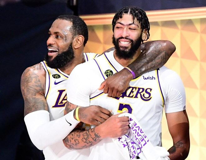 Led by the all-star duo of LeBron James and Anthony Davis, the Los Angeles Lakers won the NBA championship for the first time since 2010 — beating the Miami Heat in six.  DOUGLAS P. DEFELICE / GETTY IMAGES