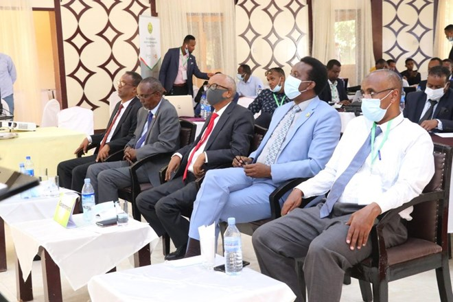 Somaliland government officials at the launch of the survey report in Hargeisa