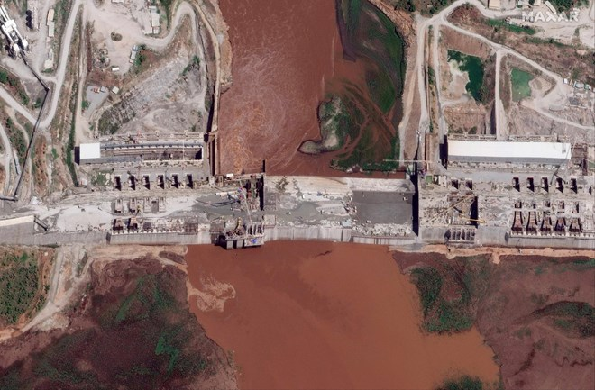 This satellite image of the Grand Ethiopian Renaissance Dam on the Blue Nile river in the Benishangul-Gumuz region of Ethiopia. Maxar Technologies via AP