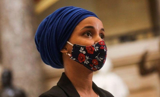U.S. Rep. Ilhan Omar (D-MN) speaks to the media at the U.S. Capitol, as Democrats debate one article of impeachment against U.S. President Donald Trump, in Washington, U.S. January 13, 2021. REUTERS/Leah Millis