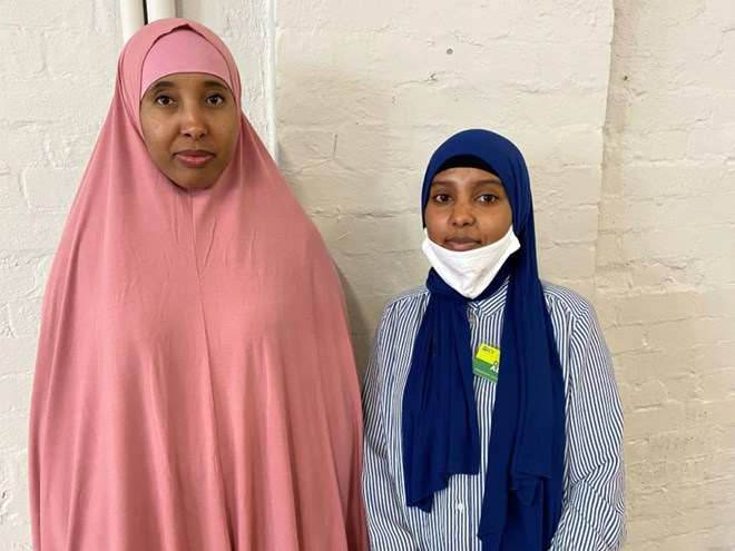 Dima Abdu (right) and Hafsa Mohamed are working with the Islamic Council of Victoria and connect residents with culturally appropriate services. Source: