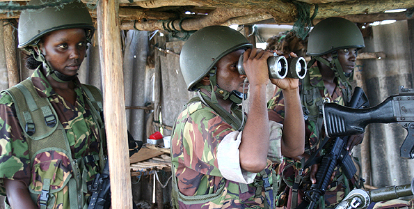"The Kenya Defence Forces (KDF) out in the field in during the ""Operation Linda Nchi"" against the Somalia militia Al-Shabaab. Photo/FILE"