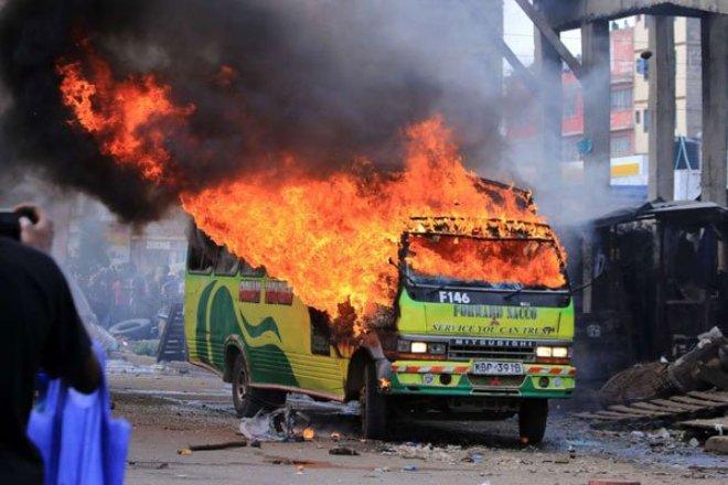 Chaos and gunshots as Raila Odinga enters Nairobi CBD