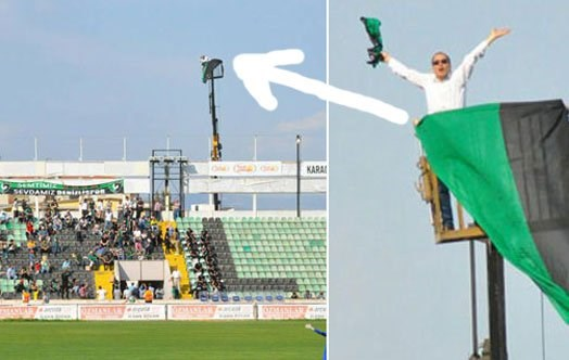 Image result for A Turkish football fan banned from his favourite team's stadium has signalled his unwavering passion for Denizlispor by hiring a crane to view a home match.