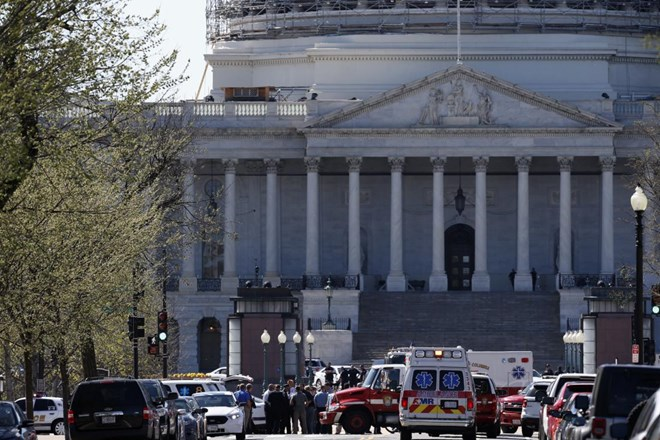 Law Enforcement and rescue vehicles are seen on Capitol Hill in Washington, DC on March 28, 2016, after a U.S. Capitol Police officer was shot at the Capitol Visitor Center complex, and the shooter was taken into custody.