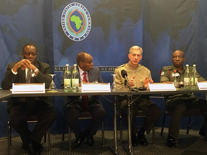 U.S. Africa Command's Gen. Thomas Waldhauser discusses security challenges in Africa during a meeting of defense chiefs on Thursday, April 20, 2017. AFRICOM invited about 40 chiefs of defense from Africa to Stuttgart, Germany, for two days of talks that ended Thursday.