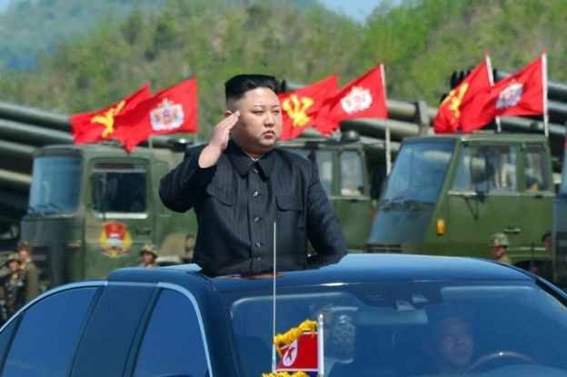 North Korea released a photo of Mr Kim saluting troops