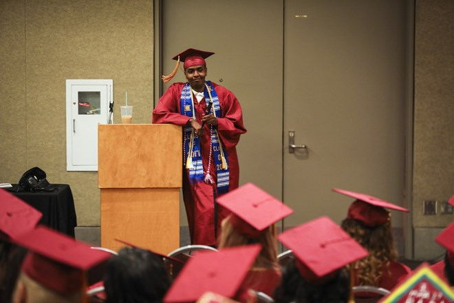 Mohamed Hassan spontaneously chose to speak in front of in front of all his graduating classmates as they waited to process in the graduation ceremony at the Minneapolis Convention Center in Minneapolis, Minn., on June 8, 2017. He spoke about how much he had grown up in the last year and reminded them they are one of the last students born in the 90's to be graduating from Roosevelt. Renee Jones Schneider