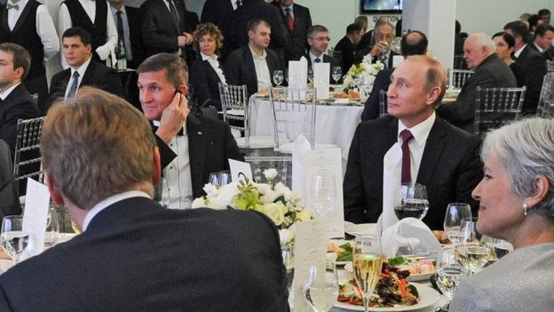 Mr Flynn was pictured dining with Russian leader Vladimir Putin in December 2015