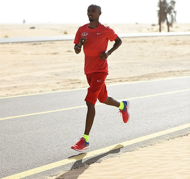 Mo Farah training in Dubai, where he has spent the winter training and on holiday with his family