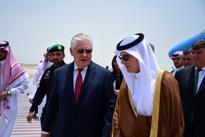 U.S. Secretary of State Rex Tillerson, center left, is welcomed by Saudi Foreign Minister Adel al-Jubeir upon his arrival in Jiddah, Saudi Arabia, Wednesday, July 12, 2017. Tillerson has held talks with the king of Saudi Arabia and other officials from the countries lined up against Qatar, but there has been no sign of a breakthrough so far in an increasingly entrenched dispute that has divided some of America's most important Mideast allies. (U.S. State Department, via AP)
