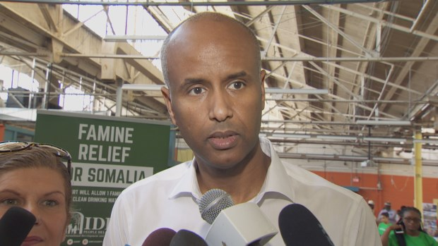 Ahmed Hussen, Canada's minister of immigration, refugees and citizenship, was at Saturday's event. (CBC)