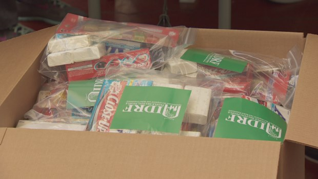 The family emergency kits include food, hygiene items and supplements. (CBC)