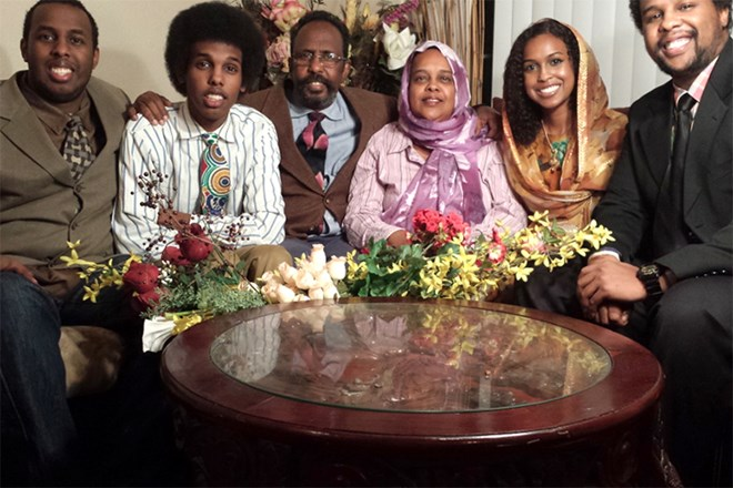 Left to right: Sharmarke, Bogor's older brother; younger brother Musse; her father, Omar, and her mother, Mai; Sayah; and older brother Dalmer. Photo: Courtesy of Sayah Bogor