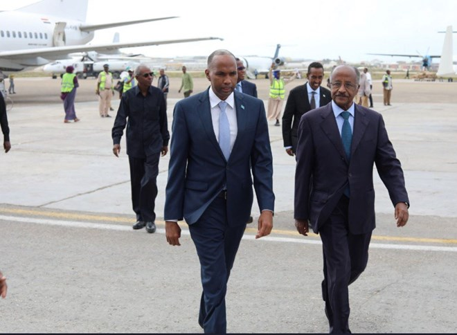 Prime Minister Hassan Khaire (L) and the Eritrea Foreign Minister Osman Saleh upon the minister's arrival in the country Monday morning. Photo: PM Kheire's twitter account