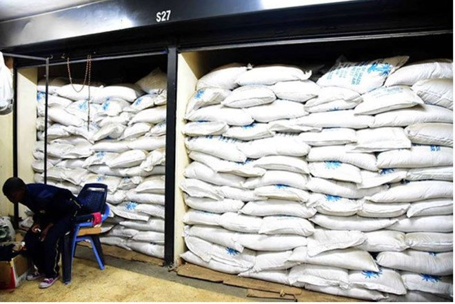 Contraband sugar confiscated by police officers in Eastleigh, Nairobi, on July 3, 2018. On Thursday bags of illegal sugar were seized in Wajir. PHOTO | FILE | NATION MEDIA GROUP