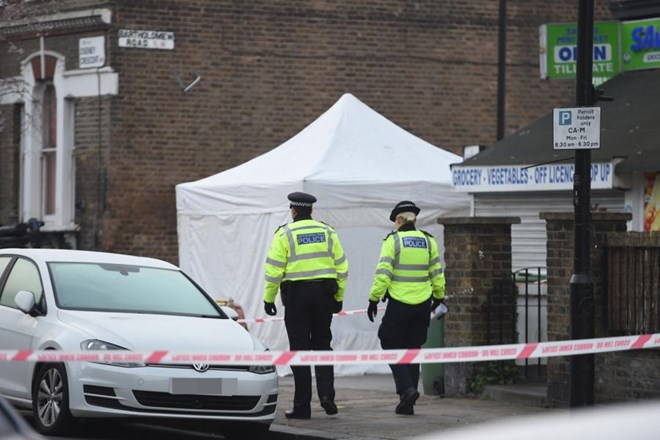Police at the scene of a fatal stabbing in Islip Street after the night of violence in north London (Jeremy Selwyn)
