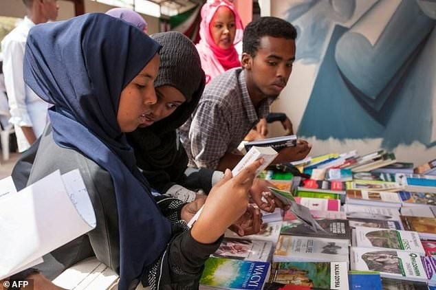 The power of the word: Young people are among the thousands who attend the book fair. The first event, in 2008, featured a handful of books borrowed from friends and attracted just 200 visitors