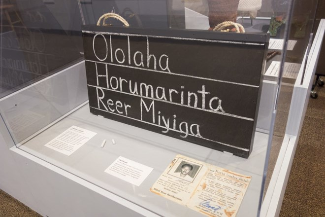 """The exhibition includes a """"chalkboard suitcase."""" Such cases were used by Somalis in the early 1970s during a nationwide literacy campaign. Courtesy of Andrea Reed, Minnesota Historical Society"""