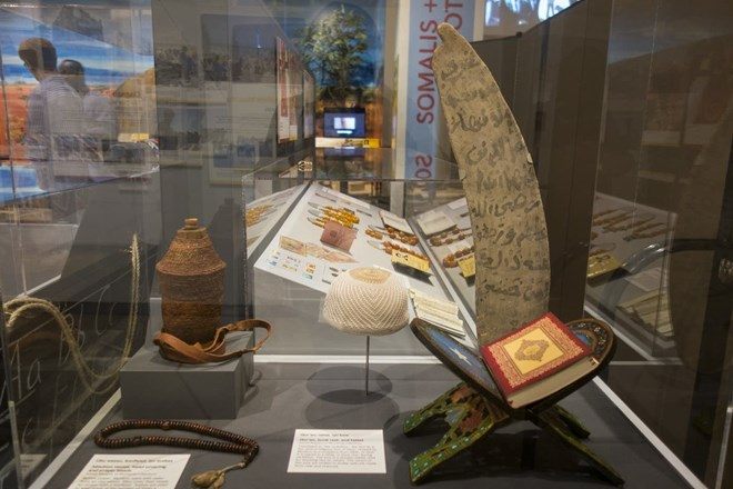 """""""Somalis + Minnesota"""" includes several display cases on different aspects of Somali life, from religion to jewelry and weaving. Courtesy of Andrea Reed, Minnesota Historical Society"""