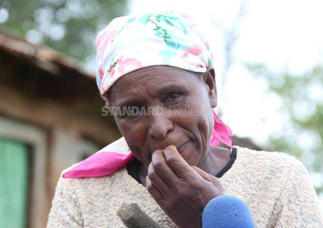 Rosemary Wangechi mourns her son John Muturi, 28, who was killed at Shimbir in Mandera early this month. Muturi was killed alongside three others all from Nyeri County. [Kabati Kihu, Standard]