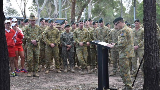 REFLECTION: Regimental Sergeant Major WO1 Adrian Hodges speaks about Australia's involvement in the Somalia Mission at a service at Lone Pine Barracks.