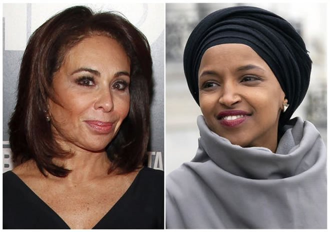 This combination photo shows Fox News host Jeanine Pirro, left, and Rep. Ilhan Omar, D-Minn.