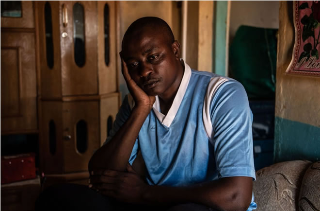 Christopher Katitu, a former Kenyan soldier, was convicted of desertion by court-martial after battling PTSD symptoms due to three tours of duty in Somalia. He was locked in a cell for two years awaiting a court-martial, in which he was swiftly sentenced to six more months. (Andrew Renneisen for The Washington Post)