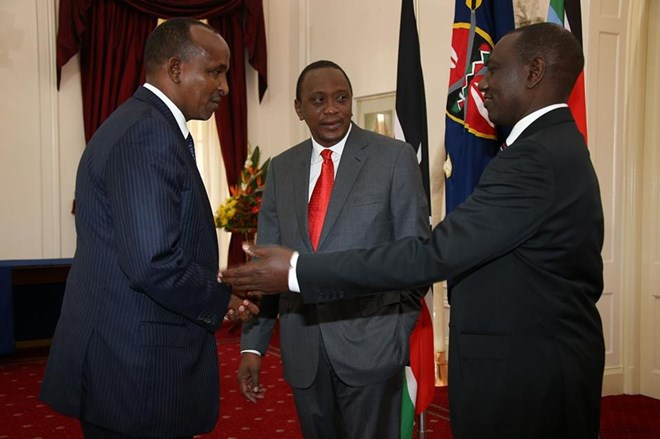 National Assembly Majority Leader Aden Duale, President Uhuru Kenyatta and his Deputy William Ruto at a past function [Source/ Aden Duale/ Facebook]