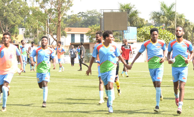 The national football team of Eritrea celebrating after beating Kenya 4-1 going through to the final of the 2019 CECAFA Senior Challenge Cup.