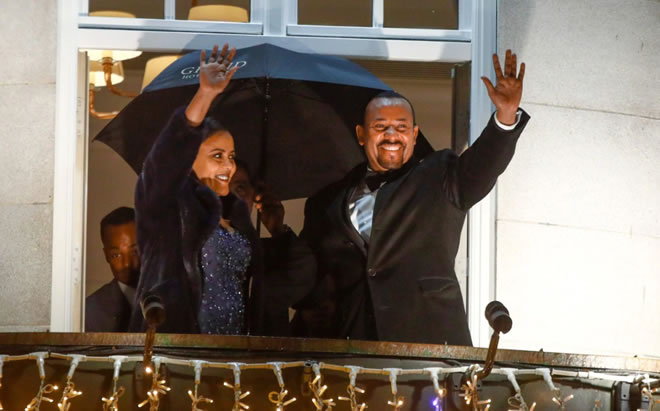 Ethiopian Prime Minister Abiy Ahmed and his wife, Zinash Tayachew, in Oslo on Dec. 10. (Terje Pedersen/AFP/Getty Images )