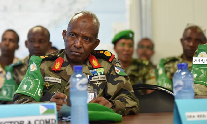 Senior military officers of the African Union Mission in Somalia (AMISOM), attend the opening session of AMISOM sector commanders' conference in Mogadishu, Somalia, on 5 July 2019. AMISOM Photo