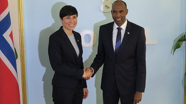 Somalia and Prime Minister Hassan Ali Khaire get help to clear the country's debt. Here with Minister of Foreign Affairs Ine Eriksen Søreide. Credit: Svein Michelsen, MFA
