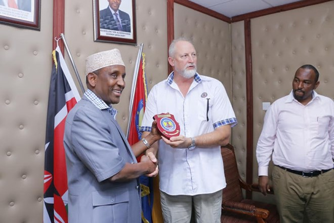 LAPSSET Garissa Governor Ali Korane with the KPA's Col. (Rtd). Conrad Thorpe in his office on Wednesday when Lapsset officials paid him a courtesy call.Image: STEPHEN ASTARIKO