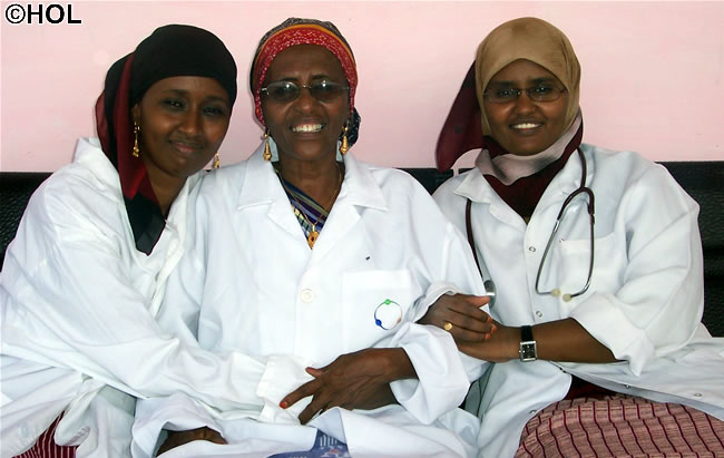 Dr. Hawa Abdi and her two daughters